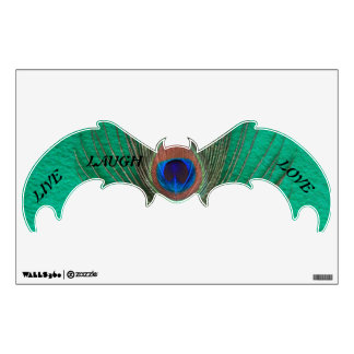 Live Laugh Love Peacock Feather on Green Bat Wall Wall Sticker