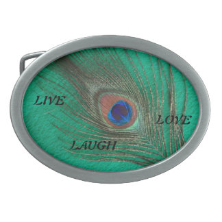 Live Laugh Love Peacock Feather on Green Belt Buck Oval Belt Buckle