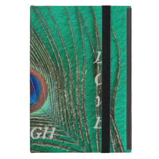 Live Laugh Love Peacock Feather on Green Case For iPad Mini