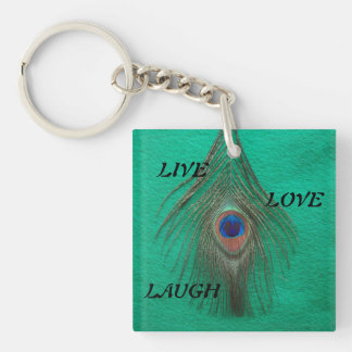 Live Laugh Love Peacock Feather on Green Double A Keychain