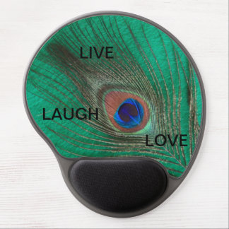 Live Laugh Love Peacock Feather on Green Gel Mouse Pad