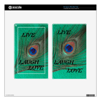 Live Laugh Love Peacock Feather on Green Kindle S Decal For Kindle Fire