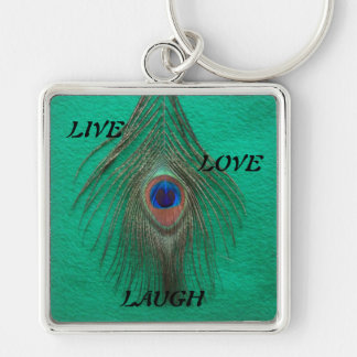 Live Laugh Love Peacock Feather on Green Large Pre Keychain