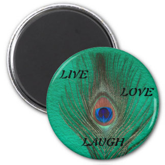 Live Laugh Love Peacock Feather on Green Magnet