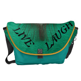 Live Laugh Love Peacock Feather on Green Messenger Bag