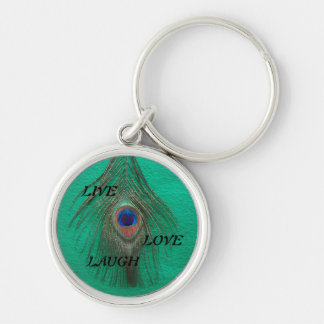 Live Laugh Love Peacock Feather on Green Small Pre Keychain