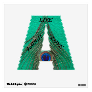 Live Laugh Love Peacock Feather on Green Wall Decal