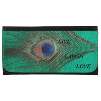 Live Laugh Love Peacock Feather on Green Women's Wallet