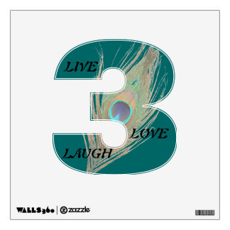 Live Laugh Love Peacock Feather on Teal 3 Wall D Wall Sticker