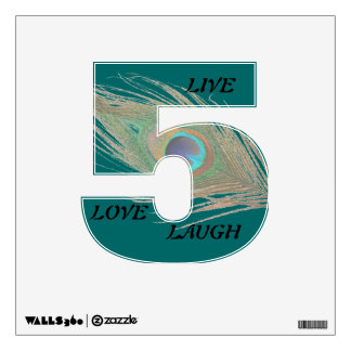 Live Laugh Love Peacock Feather on Teal 5 Wall Dec Wall Sticker