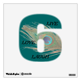 Live Laugh Love Peacock Feather on Teal 6 Wall Wall Sticker