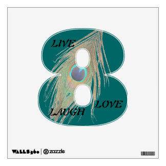 Live Laugh Love Peacock Feather on Teal 8 Wall D Wall Decal