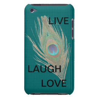 Live Laugh Love Peacock Feather on Teal Barely There iPod Cover