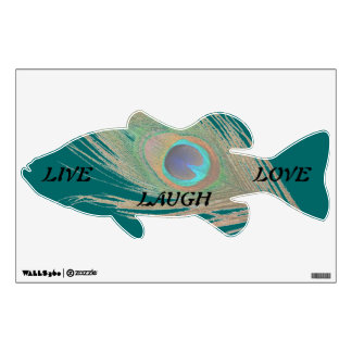 Live Laugh Love Peacock Feather on Teal Bass Wall Wall Decal