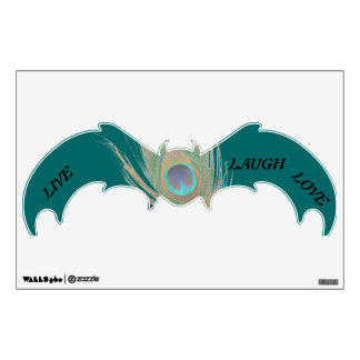 Live Laugh Love Peacock Feather on Teal Bat Wall D Wall Decal