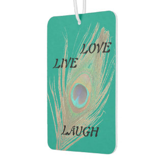 Live Laugh Love Peacock Feather on Teal Car Air Freshener