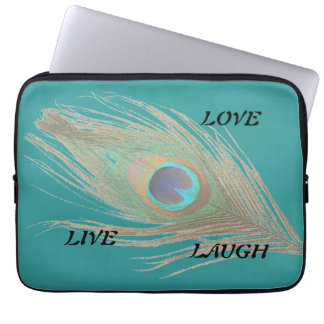 Live Laugh Love Peacock Feather on Teal Computer Sleeve