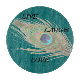 Live Laugh Love Peacock Feather on Teal Cutting Board
