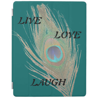 Live Laugh Love Peacock Feather on Teal iPad Smart Cover
