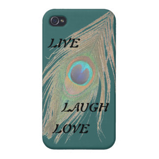 Live Laugh Love Peacock Feather on Teal iPhone 4 Case