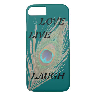 Live Laugh Love Peacock Feather on Teal iPhone 8/7 Case