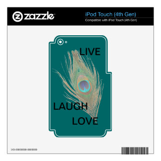 Live Laugh Love Peacock Feather on Teal iPod Skin