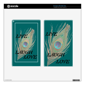 Live Laugh Love Peacock Feather on Teal Kindle S Skins For Kindle Fire