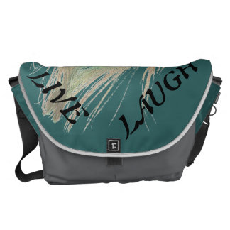 Live Laugh Love Peacock Feather on Teal Messenger Bag