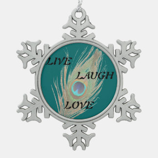 Live Laugh Love Peacock Feather on Teal Snowflake Pewter Christmas Ornament