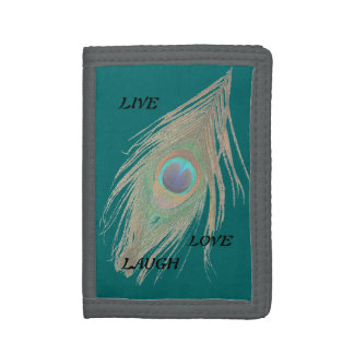 Live Laugh Love Peacock Feather on Teal Trifold Wallet