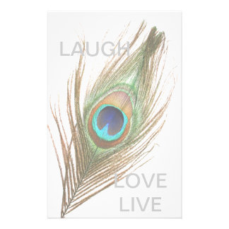 Live,Laugh,Love Peacock Feather Stationery