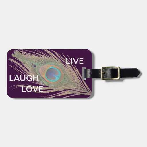 Live,Laugh,Love Peacock Feather Tags For Luggage