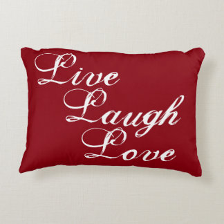 Live Laugh Love pillow with damask back