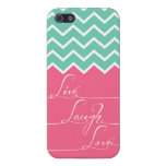 live,laugh,love/Pink and green chevron Case For iPhone 5