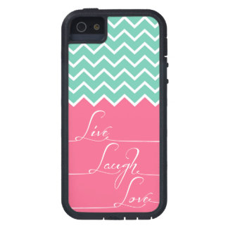 live,laugh,love/Pink and green chevron iPhone SE/5/5s Case