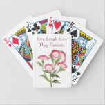 "Live Laugh Love Play Canasta  pink flowers Bicycle Playing Cards<br><div class=""desc"">Play Canasta</div>"