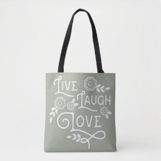 Live Laugh Love Polkadot Tote Bag