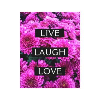 Live Laugh Love Purple Floral Wrapped Canvas
