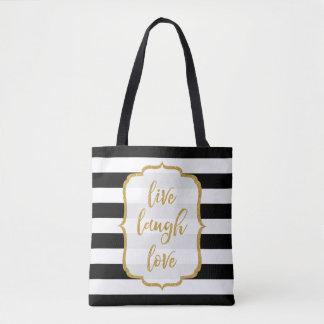 Live Laugh Love Quote Gold Glitter BW Stripes Tote Bag