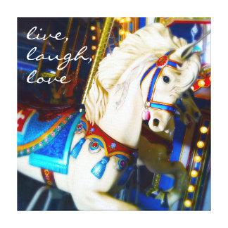 """Live Laugh Love"" Quote White Carousel Horse Photo Canvas Print"