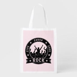 Live Laugh Love ROCK (blk) Grocery Bag