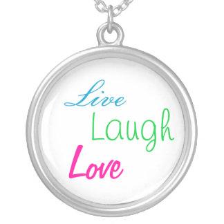 Live, Laugh, Love Round Pendant Necklace