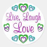 Live Laugh Love Round Stickers