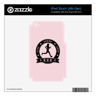 Live Laugh Love RUN female circle (blk) Decal For iPod Touch 4G