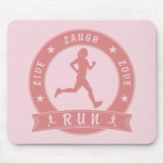 Live Laugh Love RUN female circle (pink) Mouse Pad