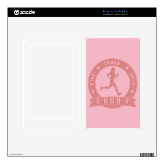 Live Laugh Love RUN female circle (pink) Skins For Kindle Fire