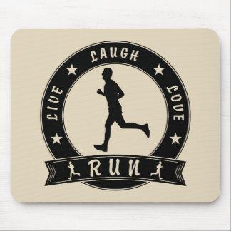Live Laugh Love RUN male circle (blk) Mouse Pad