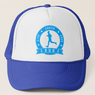 Live Laugh Love RUN male circle (blue) Trucker Hat