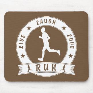 Live Laugh Love RUN male circle (wht) Mouse Pad