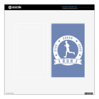 Live Laugh Love RUN male circle (wht) Skins For Kindle Fire
